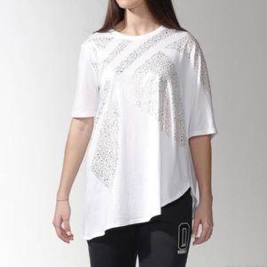 Adidas • Asymmetrical Trefoil Logo Tee White Gold